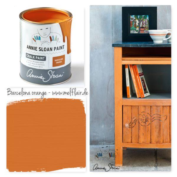 Die Chalk Paint Barcelona Orange von Annie Sloan bringt Frische in Ihr Zuhause - in einer praktischer Dose erhältlich, direkt einsetzbar für Ihr Möbelstück