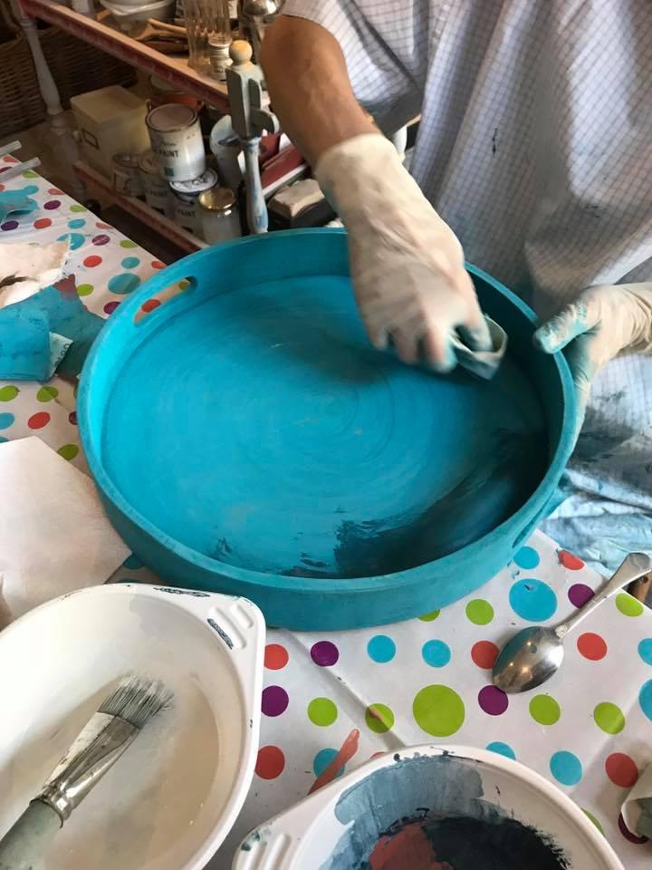 Probestück aus einem Melflair Workshop mit Annie Sloan Farben