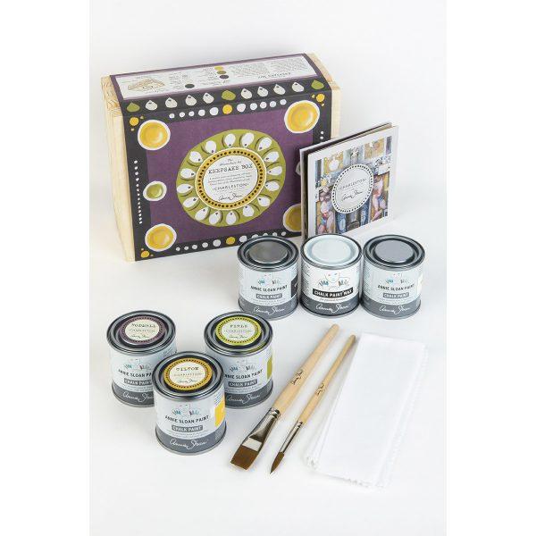 annie sloan keepsake box mit verschiedenen kreidefarben