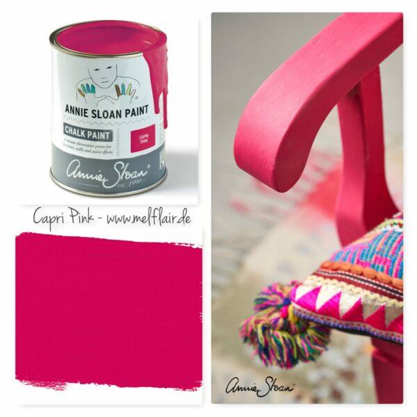 Galeriebild Capri Pink, mit Dose, Farbstrich und Beispielbild