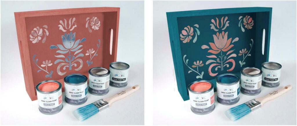 """Fertig gestaltete Tabletts aus dem Onlineworkshop von Annie Sloan """"the big paint"""""""