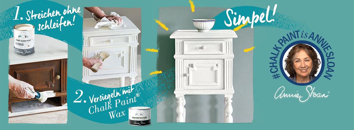 In drei Schritten ganz einfach Möbel mit Kreidefarbe streichen und versiegeln